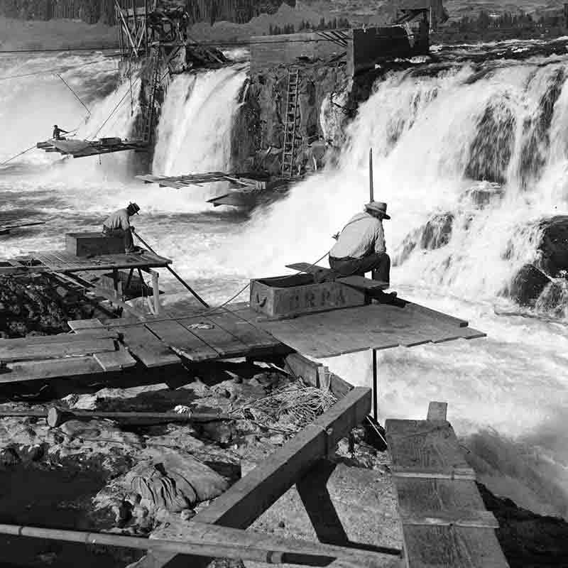 Native American Fishermen at Celilo Falls