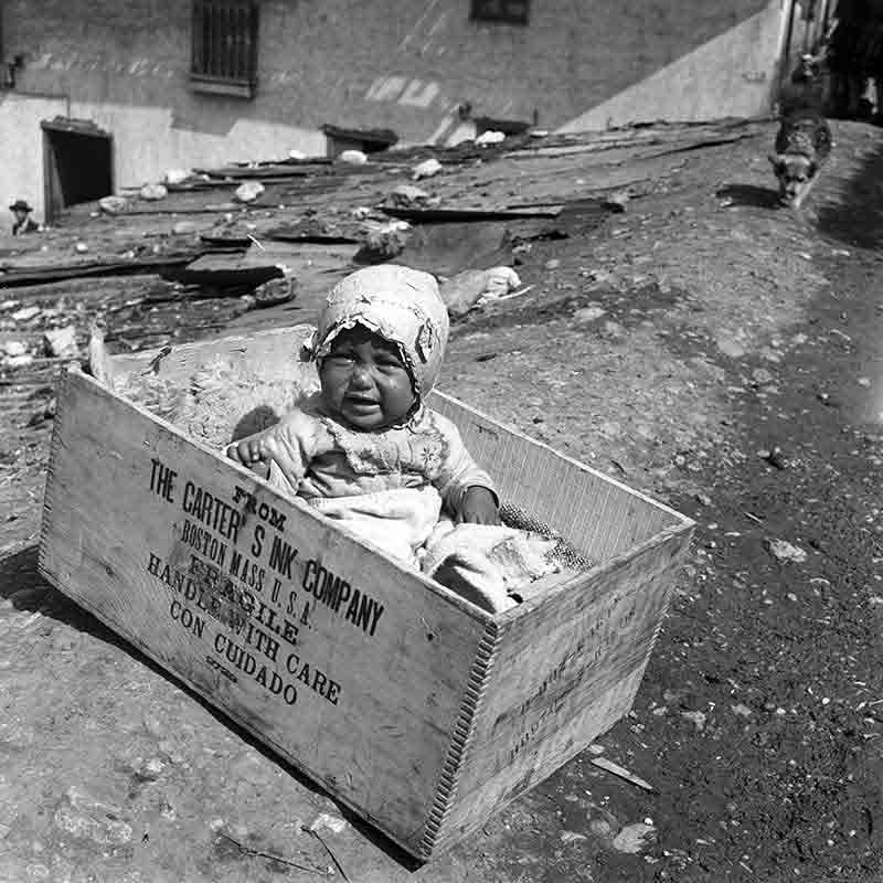 Baby in wooden Box
